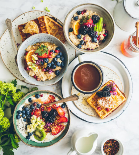 Waffles with Mix Bowl Fruits