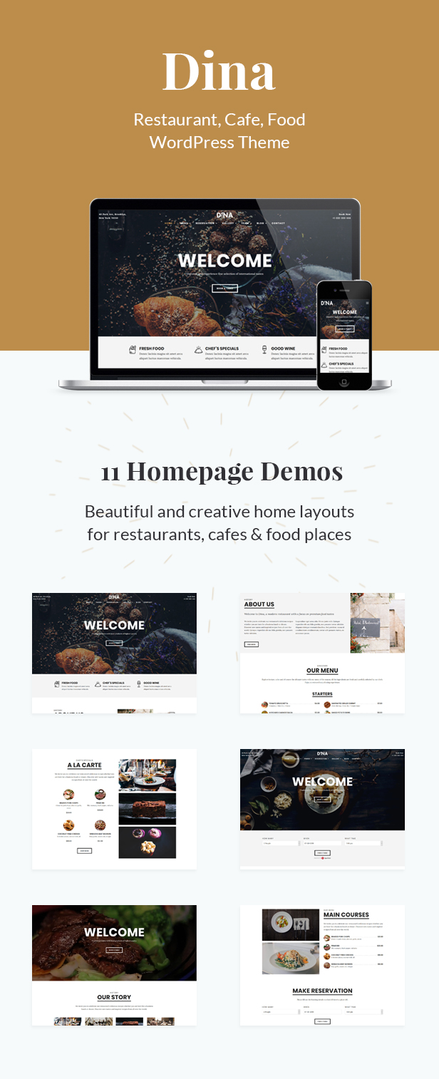 Dina - Restaurant, Bar, Cafe, Food WordPress Theme - 2