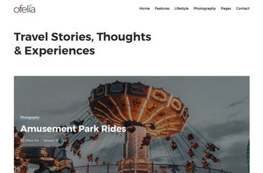 Ofelia Travel Stories WordPress Blog Theme